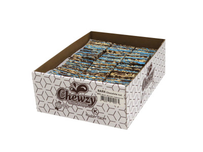 ALMONDS & CHSHEWS with a blue chocolate drizel  (Item # BCNACLB-BULK)
