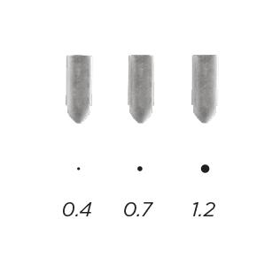 3 nozzle sizes