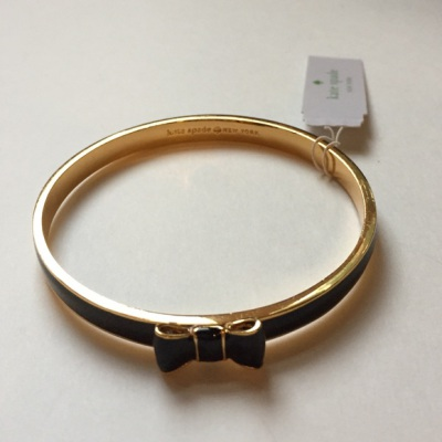 Kate Spade Take A Bow Bangle Black Gold Bangle Bracelet