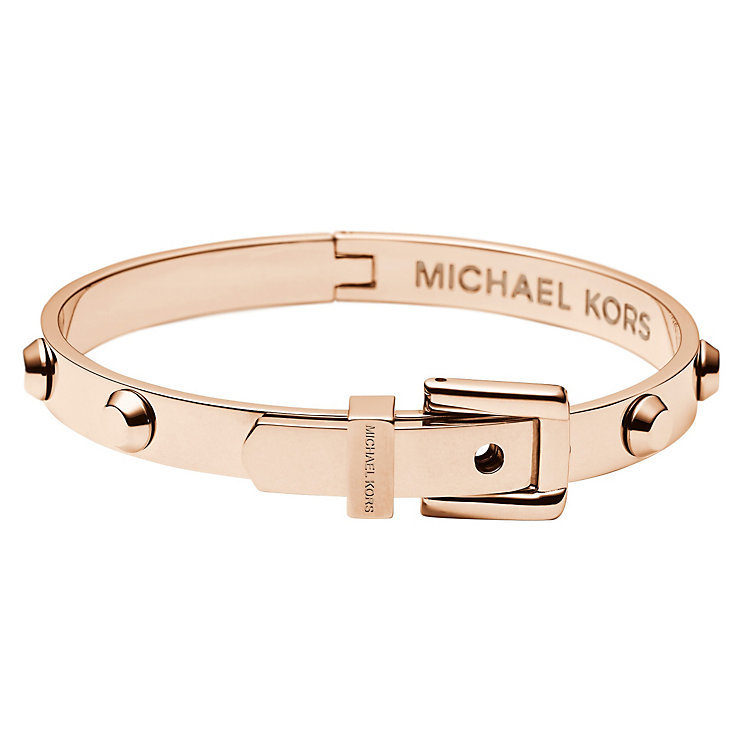 Michael Kors Rose Gold Colour Studded Buckle Bangle bracelet astor