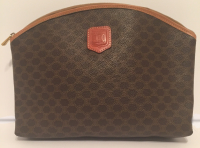 Celine Vintage Brown Macadam Pouch -Monogram Canvas and Leather