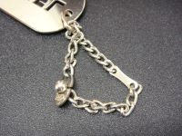 Chanel, dog tag, bag charm, preowned, lux, silver