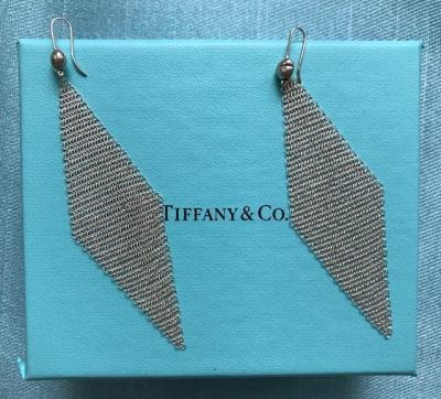 Tiffany Silver Mesh Diamond Shape Earrings SALE $195