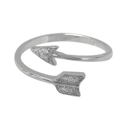 Rhodium plated Sterling Silver, adjustable Arrow Ring (Size 8)  $15