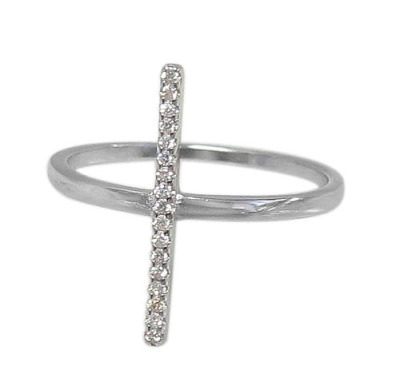 Rhodium plated on Sterling Silver Bar Ring (Size 7)   $15