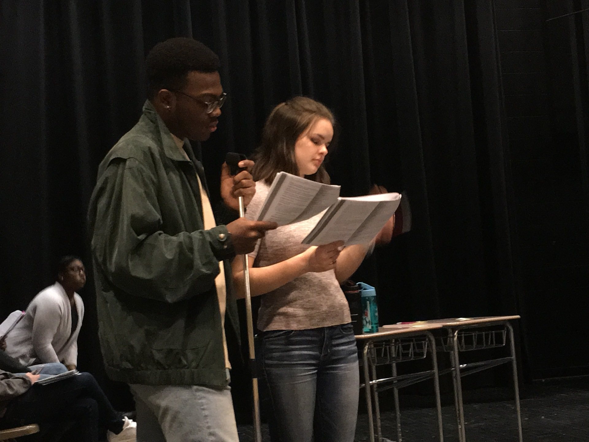 Theatre 2 students Tim Vance (Joseph) and Gracie Vogel (Clarence), rehearsing lines and blocking for
