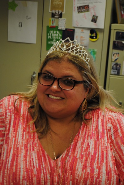 Ms. Donohue with a prom queen crown.