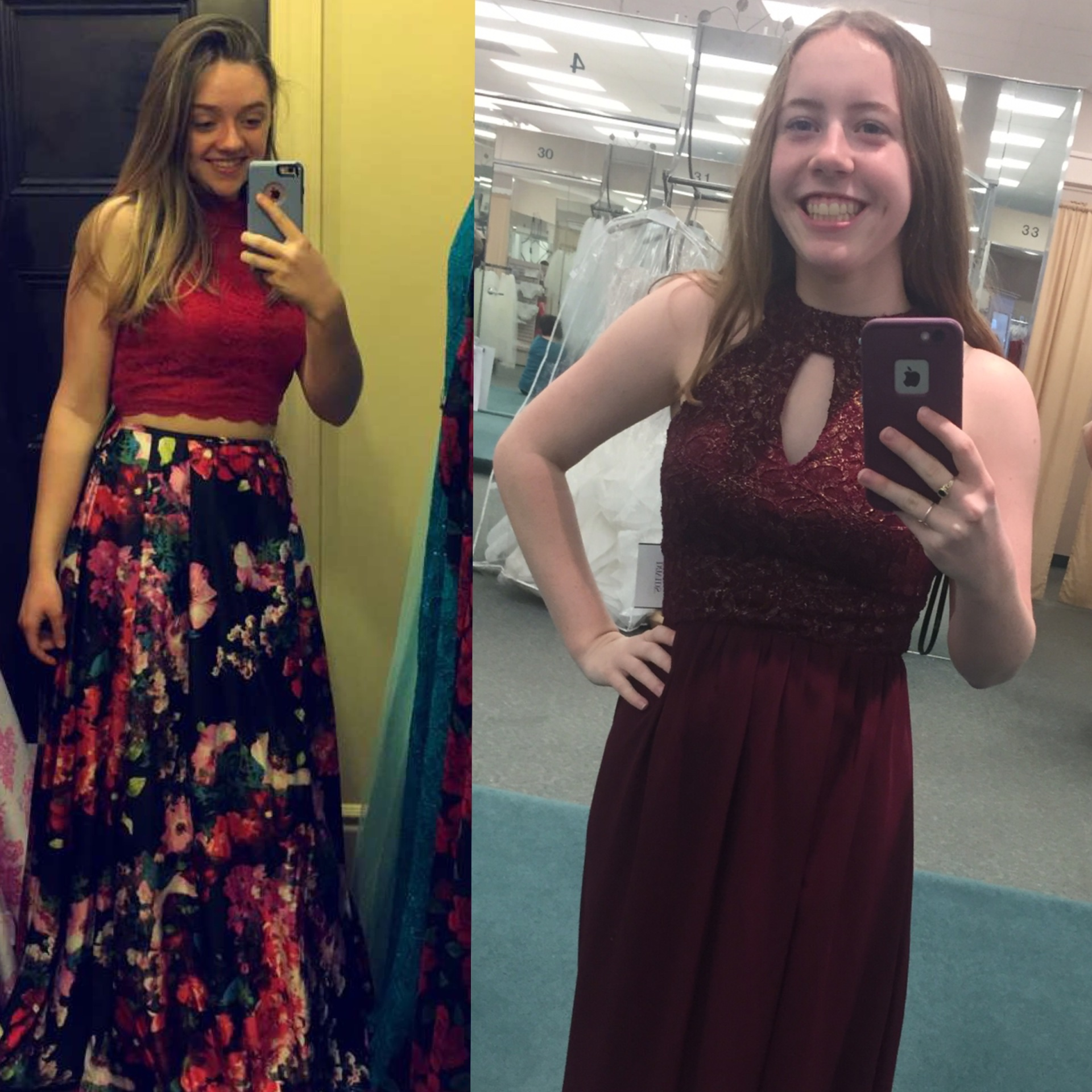 Jenna Vain (left) shows off her simple, one-piece red dress while Rachel Truex (right) is sporting h