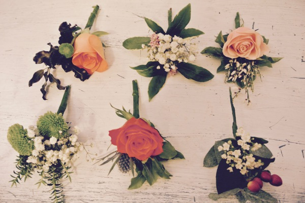 Mix flowers and greenery buttonholes