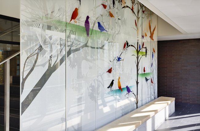 """""""Singing the Light"""" Interior Glass Screen by Sarah Hall"""