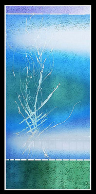 blue window with abstract reeds painted by Sarah Hall