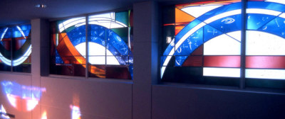 arcs of stars and heavens in the creation windows by Sarah Hall