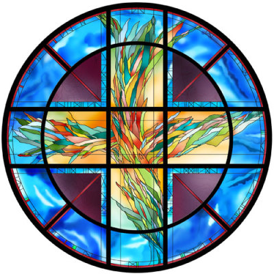 leaded and painted window by glass artist Sarah Hall