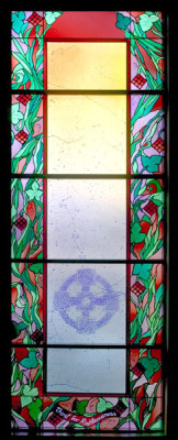 beatitude window with celtic cross by sarah hall