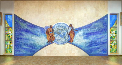 'Annunciation' mosaic is made in shape of a butterfly symbolizing the resurrection
