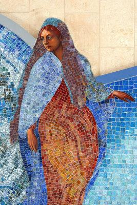 Mary, first among the faithful, in glass mosaic made by Sarah Hall
