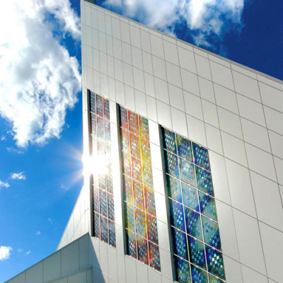 bright sunshine in Saskatoon makes solar energy for the cathedral