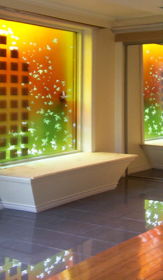 solar window and colourful light reflections in the space