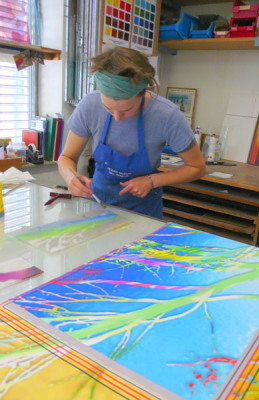 glass artist paints tree of life windows for Sarah Hall