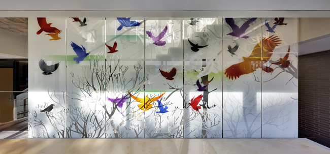 """Singing the Light"" Interior Glass Screen by Sarah Hall"