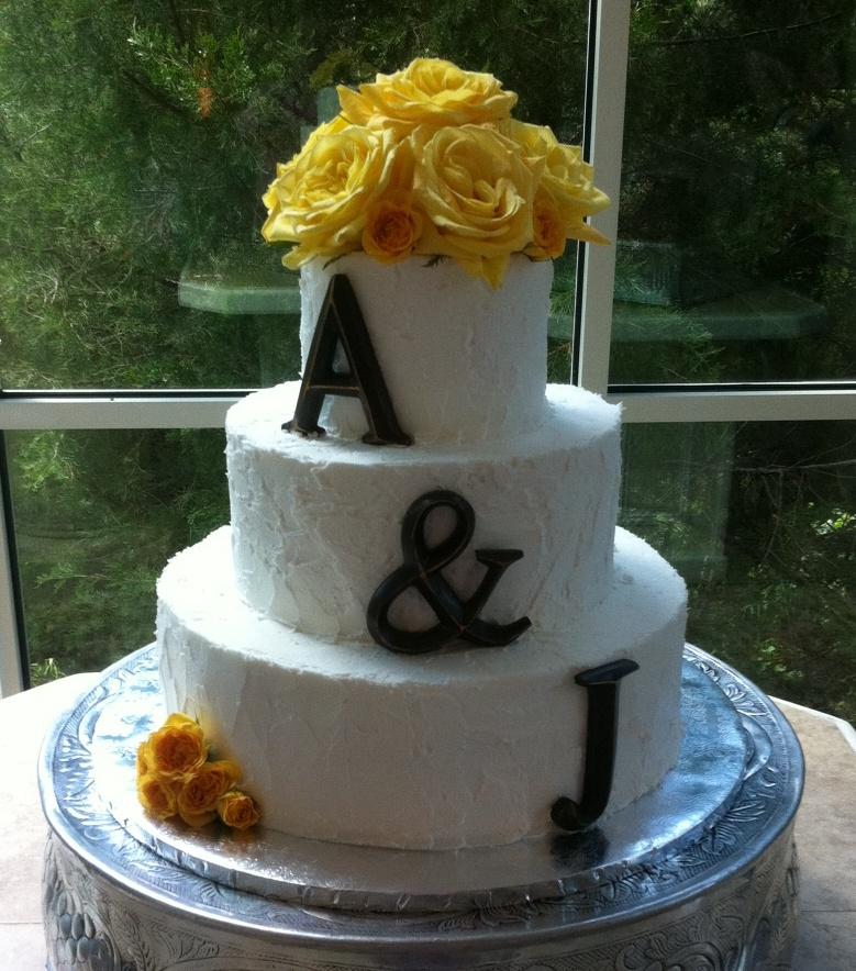 A&J buttercream wedding cake