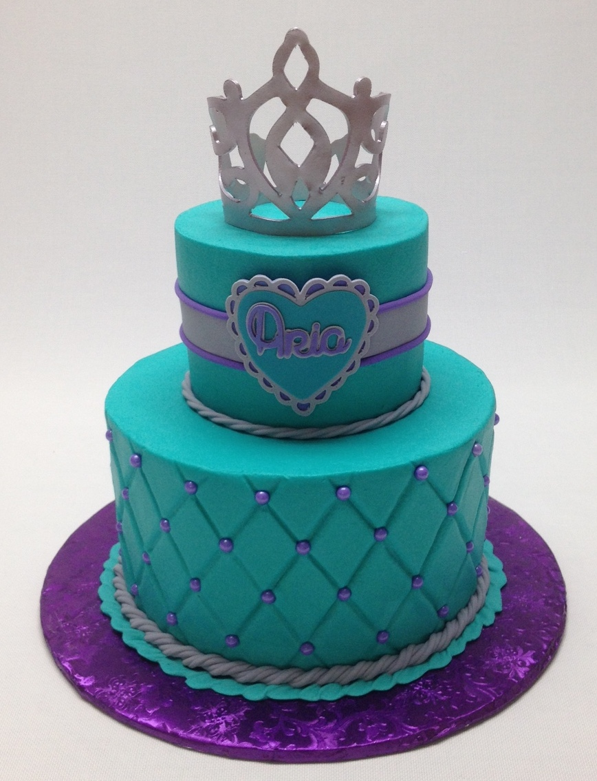 teal and purple cake