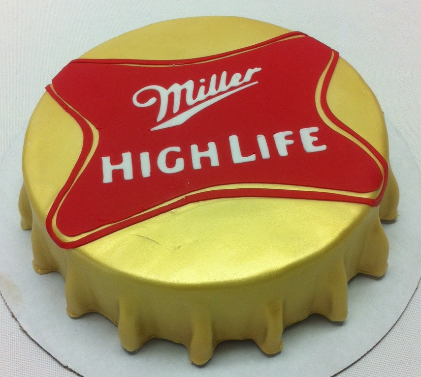 Miller High life bottle cap cake