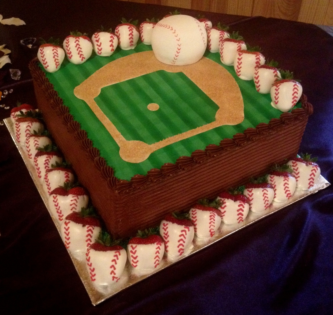 baseball field grooms cake