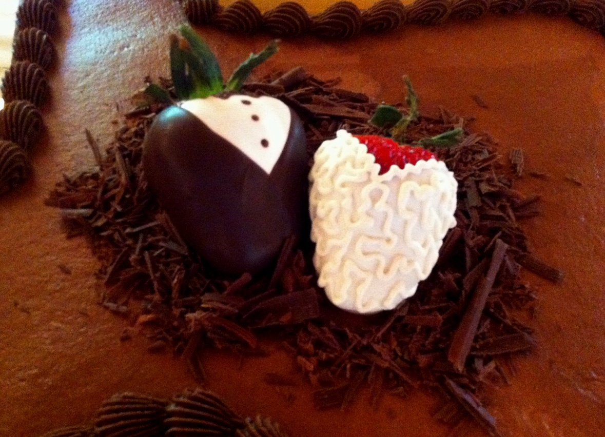 Bride and groom chocolate dipped strawberries