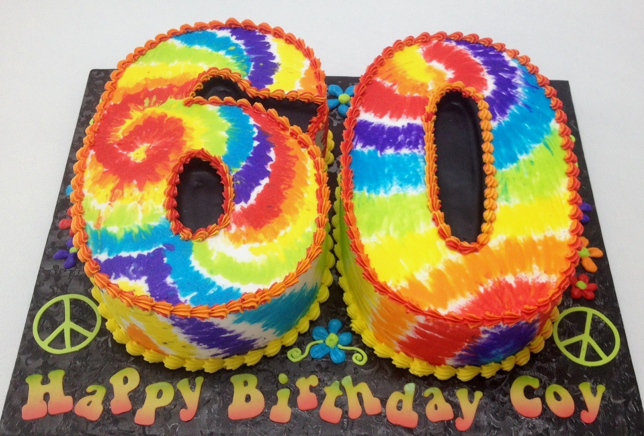 tie dye cake, hippy 60s