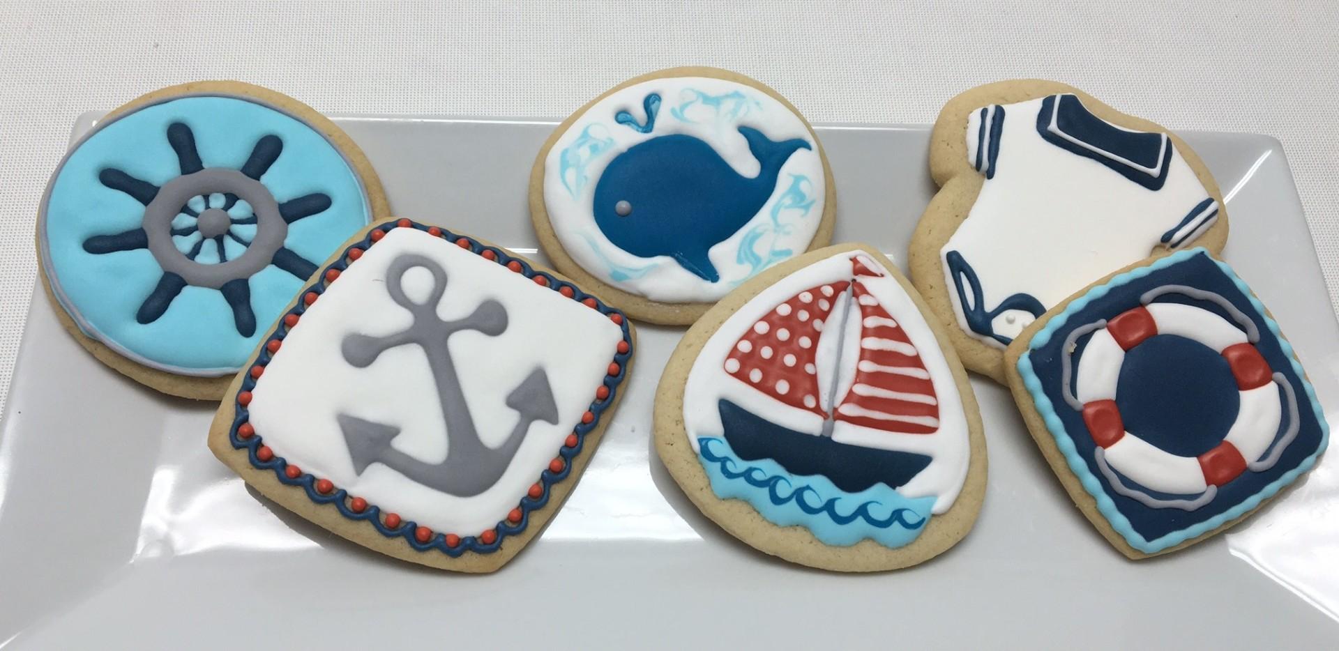 nautical, boat, ocean cookies
