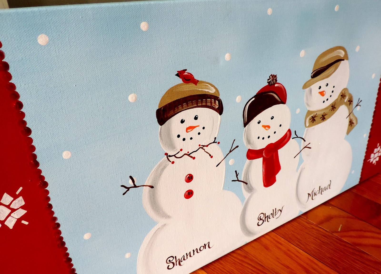 Snowman Family - 12x24 - $50.00