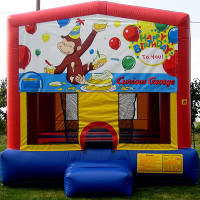 Inflatable Happy Birthday Curious George Bouncer