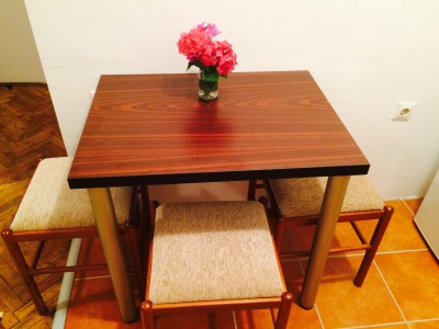 dining table with three chairs