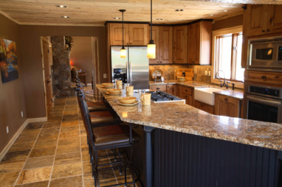 Extended Kitchen in remodeled Cabin in Grand Lake, Colorado