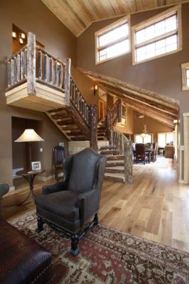 Unique staircase in remodeled cabin in Grand Lake, Colorado
