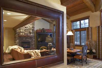 View of family room in mirror at Pole Creek Home, Tabernash, Colorado