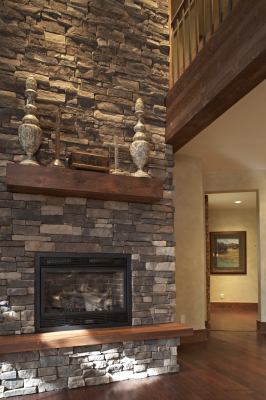 Multi-story fireplace in Pole Creek Home, Tabernash, Colorado