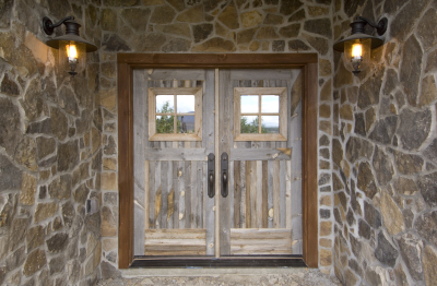 Front entrance into remodeled cabin in Grand Lake, Colorado