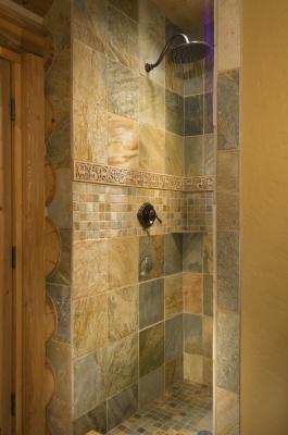 Invigorating tile shower in Cabin in Grand Lake, Colorado