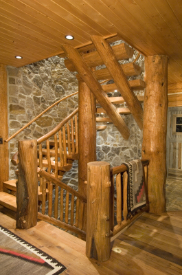 One-of-a-kind staircase in cabin in Grand Lake, Colorado