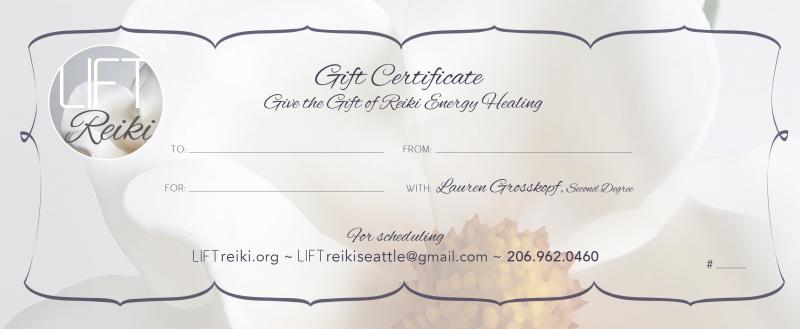 Gift Certificate Reiki Energy Healing