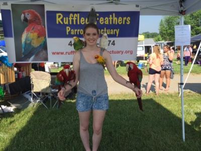 Ruffled Feathers Sanctuary volunteer for bird care