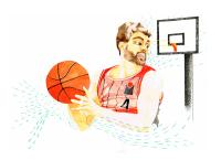 basketball, watercolour, illustration