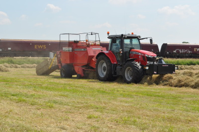 Baling Hay with Massey Ferguson Tractor and Baler