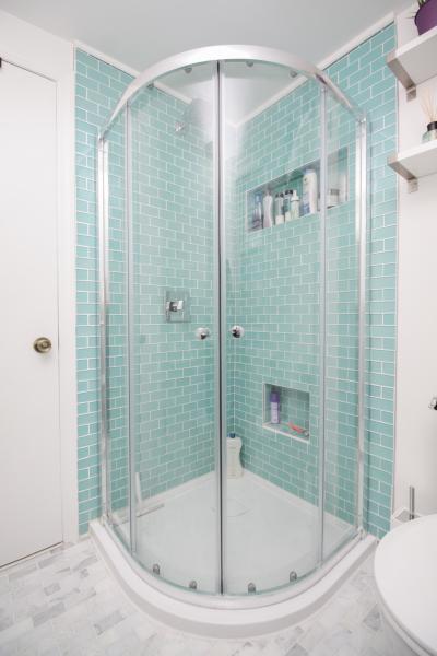 Shower, glass doors