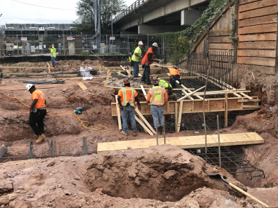 Installation of footing rebar and formworks