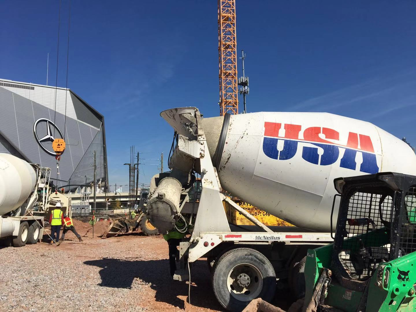 Concrete mixer was on site and pouring concrete