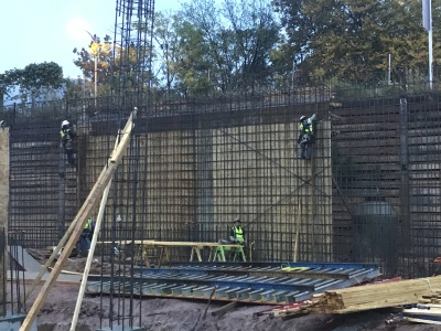 Forming of foundation wall and rebar installation