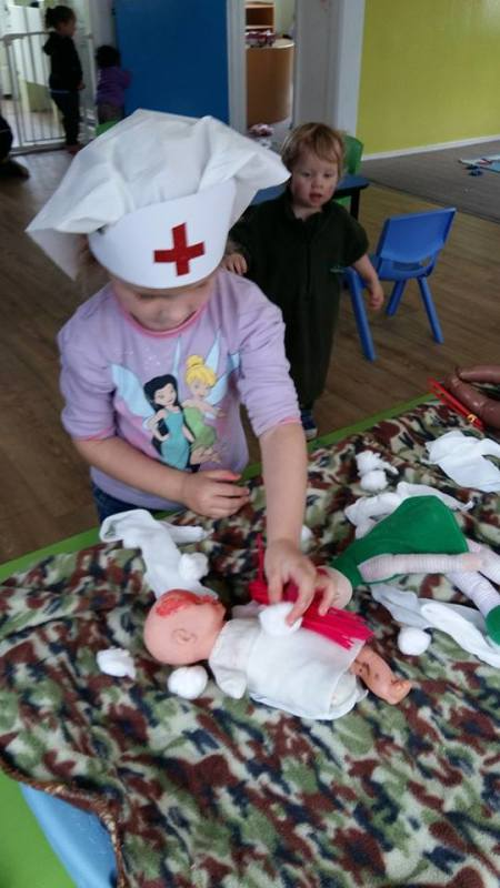 Learning about Anzac Day!!!. Our Evac Nurses and Doctors practising on the dolls